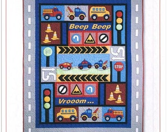 Kid's Quilts Kids Quilts Traffic Jam Vehicles Traffic Signs Stop Lights Boys Quilt