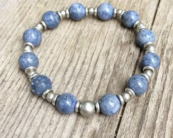 Blue sponge coral bracelet, blue bracelet with silver, stretch bracelet