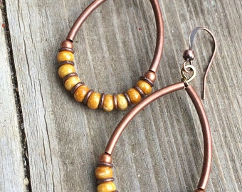 Mustard Yellow Boho Hoop Earrings with Antiqued Copper