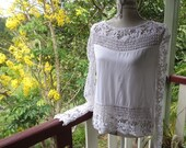 delicious white lace blouse, new romantic style, upcycled 80s top, medium