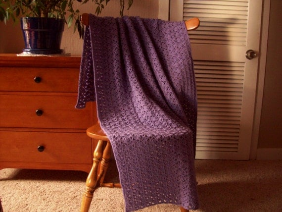 Hand Crochet Lavender Purple Blanket throw afghan throw blanket, 55x40, Adult One solid color lap couch bed laphan Many colors in shop