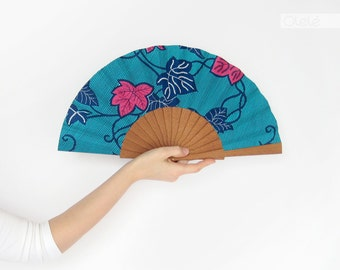Fan with leather case - Contemporary Spanish accessory -  Blue hot pink - Vine leaves