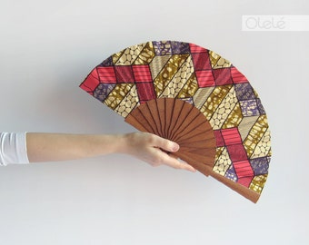 Wax print hand fan with case - Neon geometry - Kitenge hand fan - Hot pink and purple african inspired accessory