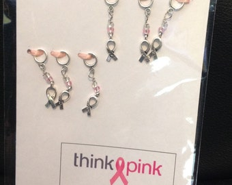 Think Pink Stitch Mark Greeting-Breast Cancer Awareness Ribbon Non-Snag Stitch Markers