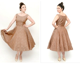 1950s New Look BOMBSHELL Dress- 32 Waist, Vintage Prom, M/L, Scallop, Taupe Brocade Rhinestone FIt and Flare Dress, Pinup, Retro, Bridesmaid