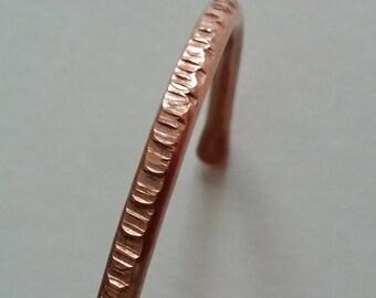 Stackable textured copper cuff bracelet.