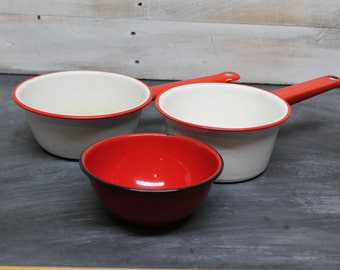 Vintage Red and White Enamel Pots, Red and Black Enamel Bowl
