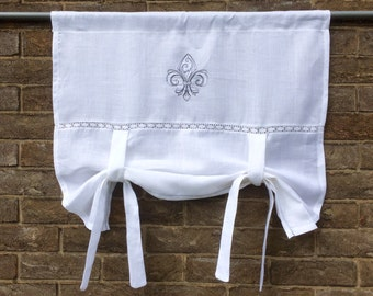 French Style Valance, Linen Tie up Curtain, Monogram Rollup Shade, Vintage Fleur de Lis Embroidery, Privacy Sash Window Curtain