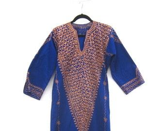 Embroidered Ethnic Kaftan Cobalt Blue Cotton w/Metallic Thread Ladies Size S/M