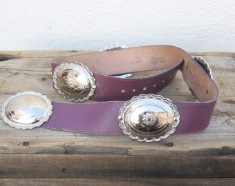 Silver Conch Belt Purple Leather Southwestern Statement Belt Size 30-35""
