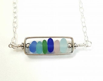 Sea Glass Necklace, Bar Necklace, Beach Glass Necklace, Sterling Silver Rectangle Locket Necklace, Seaglass Necklace, Genuine Seaglass