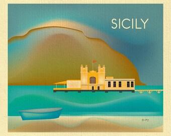 Sicily Italy Art,  Sicily Italy print, Sicily poster, Sicily travel art, Italian wall art, Palermo Art, Mondello Beach Art print  - E8-O-SIC