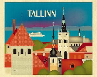 Tallinn Skyline Print, Tallinn Wall Art, Tallinn Estonia Travel Print, Tallinn Retro Travel Art Poster, Tallinn Canvas art - style E8-O-TALL
