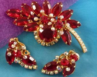 Vintage Red Juliana Brooch and Earring Set, Costume Rhinestone Demi Parure