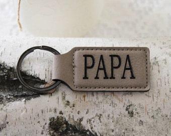 Leather Personalized  Key Holder, Custom Key Ring, Engraved Custom Key Chain, Grandpa Father's Day Gift, Papa Gift Idea