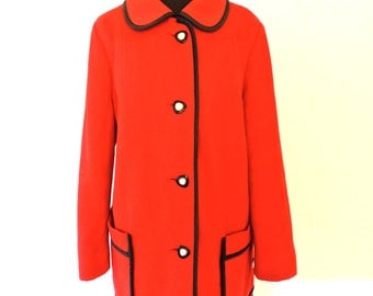vintage red wool cape coat - 1950s-60s pearl-button wool cape jacket