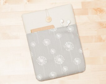 iPad sleeve, iPad air cover, iPad Pro case, padded  -  cream dandelion with pockets -