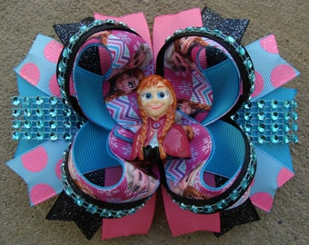 Frozen Hair Bows-Large Hair bow - Anna Hair Bow Princess Anna Hair Bow large boutique hair bow