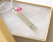 Bar Heart Necklace Silver Tone, Birthstone Acrylic Color, Heart Necklace, Girls Gift, Gift for her, Heart Bar Necklace Hand Stamped Aluminum