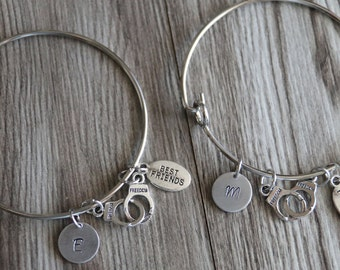 Partner in crime Bangle Bracelets, Best Friend Bangle Bracelets, 2 Bangles, Personalized Bangle, Bff Gift, Friendship, Partner In Crime
