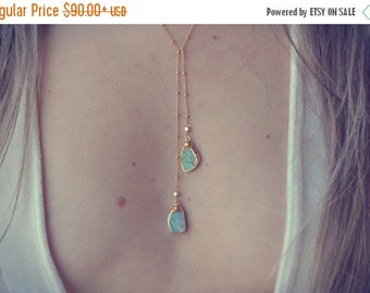 XMAS IN JULY Aqua Lariat /// Turquoise Lariat Necklace /// Gold