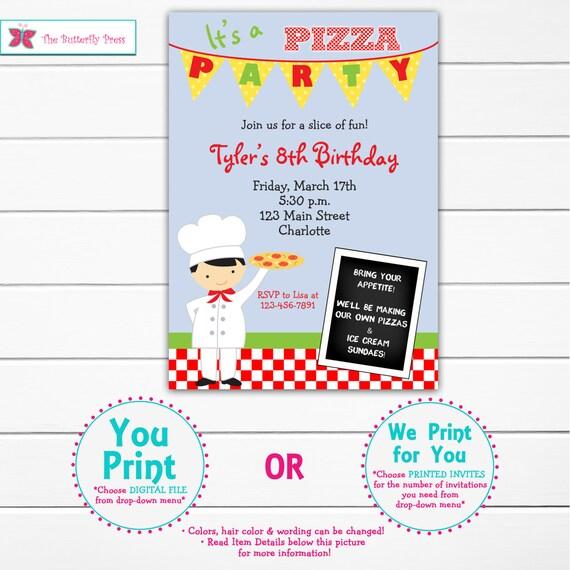 pizza party invitation - pizza birthday party - boy pizza birthday -- You print or I print