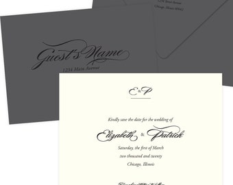 """Ivory and Grey Monogram Save the Date """"Elegant Nuptials""""; SAMPLE ONLY"""