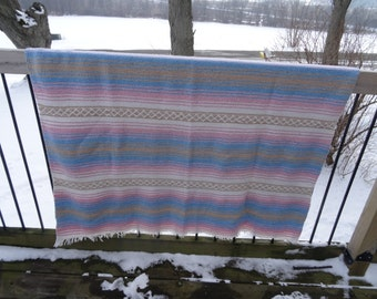 Vintage Mexican Hippie Blanket Multi Colors Pink White Tan Blue