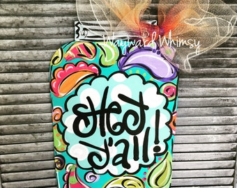 Paisley Mason Jar  Wood Cut Out Door Hanger