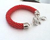 Red Bead Crochet Bracelet - Ruby Red Bangle - Siam Ruby Beaded rope bracelet