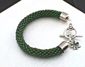 Olive Bead Crochet Bracelet -  Olive green Bangle - Dark green Beaded rope bracelet