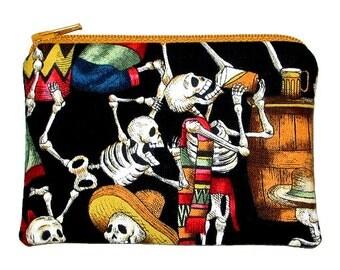 SALE - Day of the Dead Fiesta de los Muertos Black Small Zipper Pouch Coin Purse