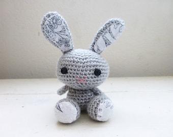 Amigurumi bunny, crochet bunny, gray bunny, bunny tail, rabbit doll, amigurumi animal, crochet amigurumi, ready to ship, handmade, kawaii