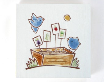 """Blue Birds on Planter Box with Seed Starts handmade tile, ceramic coaster or wall hanging 4""""x 4"""""""
