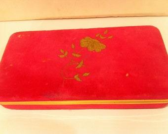 Vintage Pink Velvet Jewelry Box