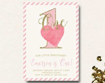 Valentine Birthday Invitation Our Little Sweetheart Birthday Party Invite Invitation Glitter Pink Watercolor DIY Printable