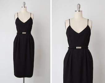 vintage 1950s dress / 50s wiggle dress / black wool dress / Femme Fatale dress