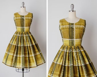 vintage 1950s dress / 50s abstract dress / 50s cotton dress / Expressionism dress