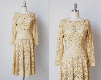 vintage 1940s dress / 40s Ellen Kaye dress / 1940s lace dress / Noemie dress