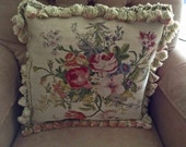 """Hand MadeTapestry Throw Pillow, Mint Condition, 20"""" Square, Rose Pillow, Feathers and Down, Country French Pillow, Accent Pillow"""