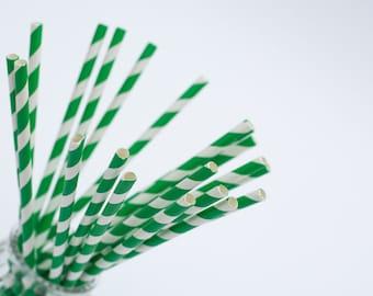20 paper straws green stripes