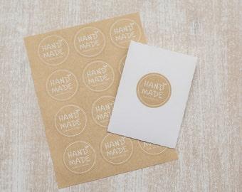 "24 Paper kraft stickers ""Handmade"""