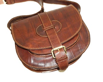 Anthic Brown Leather Saddle Bag // Cross body bag // Messenger Goldmann S