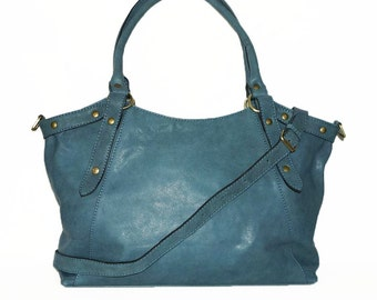 Soft Leather Bag Handbag Tote // Shoulder Cross Body Bag Elsa in blue