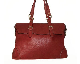 Red Wine Leather Tote Shoulder Cross-body Bag Johanna XXL fits a 17 inches Laptop