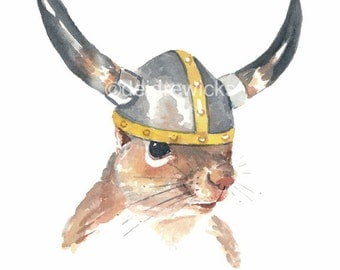 Viking Squirrel Watercolor - 5x7 PRINT, Viking Helmet, Watercolour Squirrel, Squirrel Print, Animal Watercolor