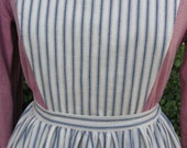 Handmade cream and blue ticking striped pinner apron, pockets