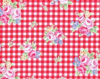 Lecien gingham Flower Sugar fall 2015- floral red check