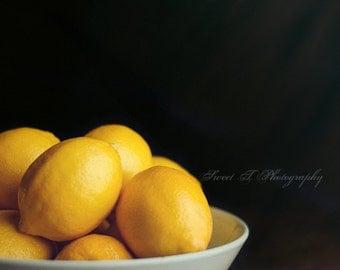 "Fine Art Photograph ""Lemons "" Wall Art Print Rustic Kitchen Decor Photograph Yellow Black Blue Small Series Fruit Still Life Minimalist"