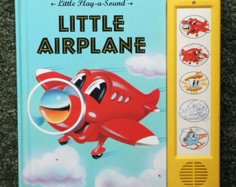 2X-REDUCED, LITTLE AIRPLANE, Play-a-Sound, Vintage Child's Book with sound effects